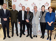 Linda Levy, right, Macy's Omni Group Vice President, and Elizabeth Musmanno, second right, President, Fragrance Foundation, pose with perfumers Frank Voelkl, Pascal Gaurin, Harry Fremont, Rodrigo Flores-Roux and Ralf Schwieger, left to right, at the 2016 Macy's Flower Show Scent event at Herald Square, Monday, March 21, 2016, in New York. (Diane Bondareff/AP Images for Macy's Inc.)