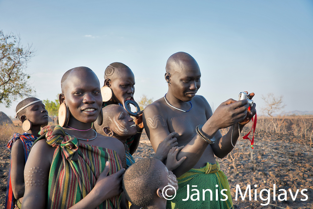 Africa, Ethiopia, Omo Valley, Mago National Park. Mursi Tribe,