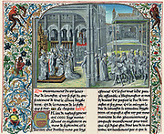 Henry IV (1367-1413) First Lancastrian king of England from 1399; son of John of Gaunt, known as Henry Bolingbroke from birthplace in Lincolnshire. Coronation at Westminster. Men play musical instruments in borders illuminated with foliage, flowers and birds. After 15th century manuscript of Froissart