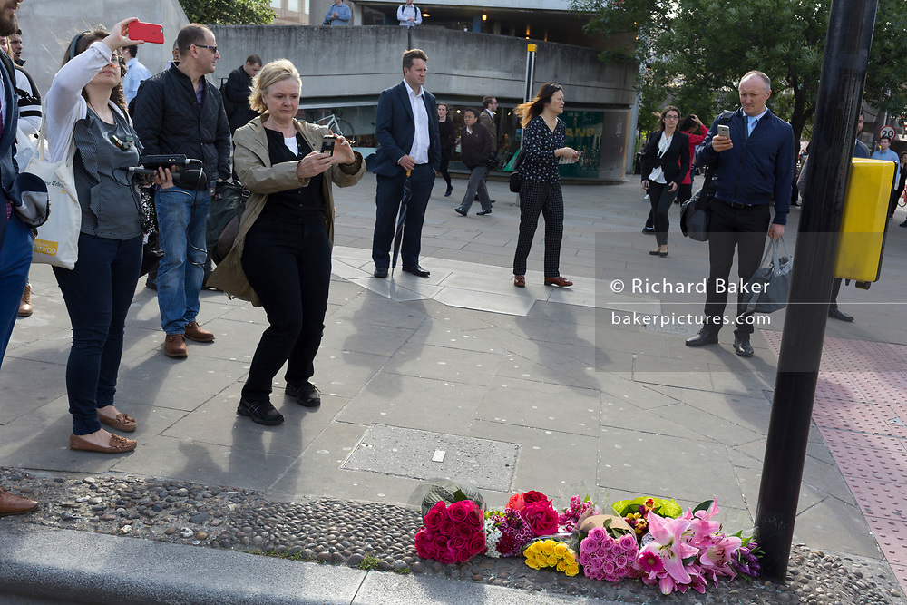 36 hours after the London Bridge and Borough Market terrorist attack, the Radio 4 journalist Martha Kearney reports from the scene, on Monday 5th June 2017, in the south London borough of Southwark, England. Seven people were killed and many others left with life-changing injuries - but the British spirit of defiance and to carry on with every day life, endures.