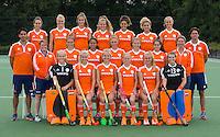 UTRECHT -  Teamfoto Jong Oranje meisjes -21 voor EK 2014 in Belgie (Waterloo). COPYRIGHT KOEN SUYK