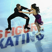 Madison Chock and Evan Bates are seen during the Smucker's Skating Spectacular at the TD Garden on January 12, 2014 in Boston, Massachusetts.