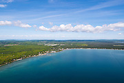 Aerial view of Baileys Harbor, Door County, Wisconsin.