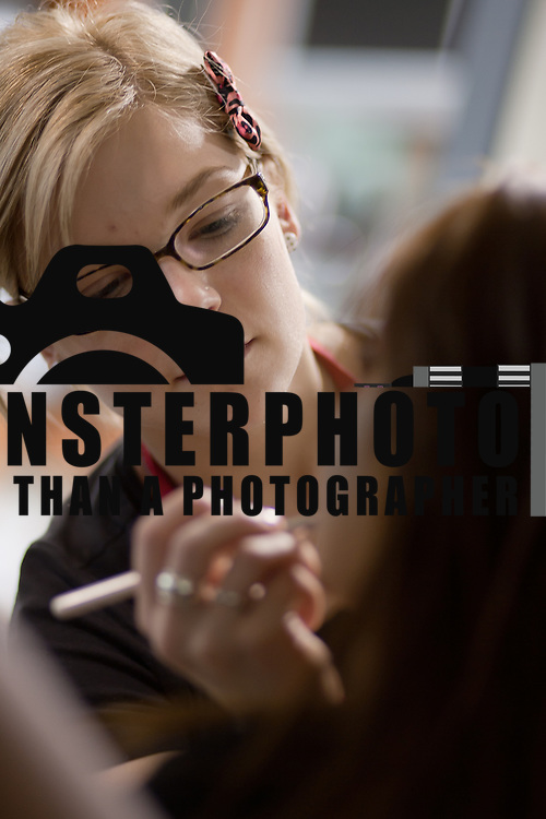 04/20/12 Newark Del. Make-up Artist Rachel Sauer applies make up to model Sam Tigani face during a dress rehearsal Friday, April. 20, 2012 at The Paul Mitchell school of Delaware Friday, April. 20, 2012 in Newark Del...Special to The News Journal/SAQUAN STIMPSON