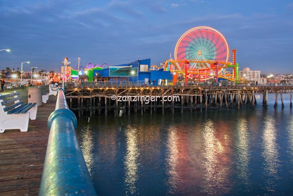 Pacific, Park, Pier, Santa Monica, CA, Beautiful, family, amusement, park, large, New, Pacific, Ferris wheel, Roller Coaster, moving, over the, ocean, Unique, Fun
