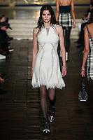 Katlin Aas walks the runway wearing Alexander Wang Fall 2016 during New York Fashion Week on February 13, 2016