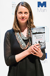 © Licensed to London News Pictures. 16/10/2017. London, UK.  US author EMILY FRIDLUND with her book History of Wolves attends the Man Booker prize for fiction shortlisted event at the Royal festival Hall. The winning author will receive £50,000 prize money.Photo credit: Ray Tang/LNP