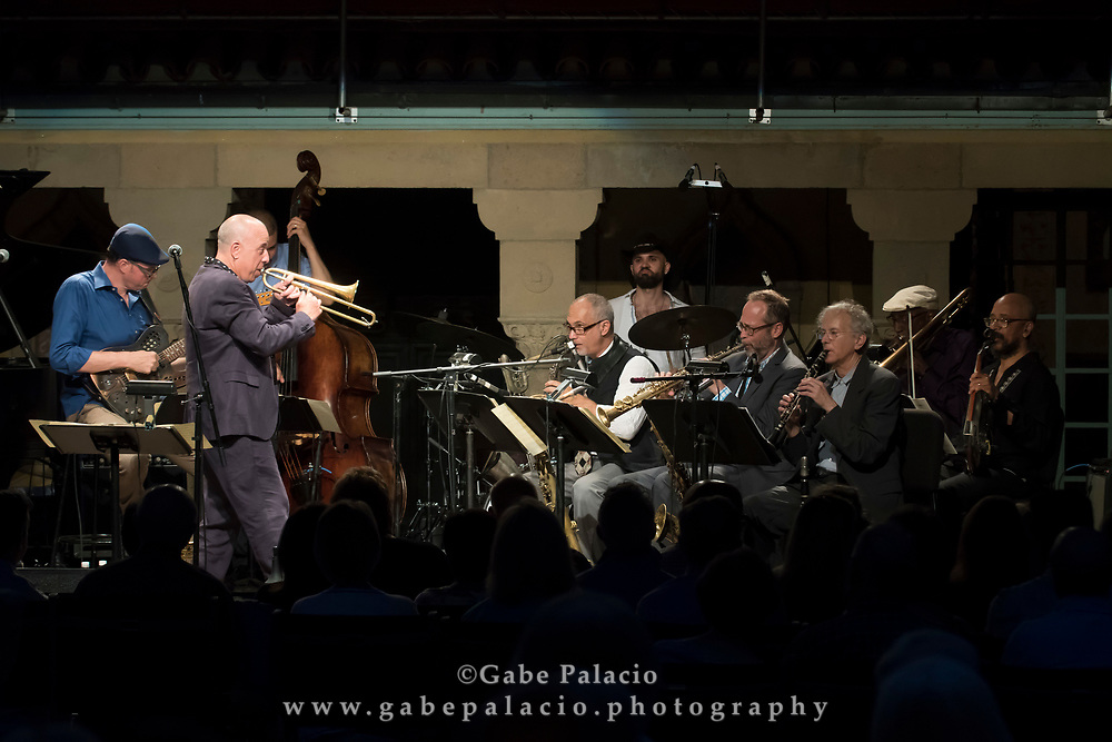 Butler, Bernstein &amp; The Hot 9, Presented in Collaboration with Jazz at Lincoln Center, in the Spanish Courtyard at Caramoor in Katonah New York on July 28, 2017. <br /> (photo by Gabe Palacio)