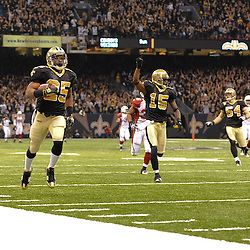 16 January 2010: New Orleans Saints running back Reggie Bush (25) returns a punt 83-yards for a touchdown during a 45-14 win by the New Orleans Saints over the Arizona Cardinals in a 2010 NFC Divisional Playoff game at the Louisiana Superdome in New Orleans, Louisiana.