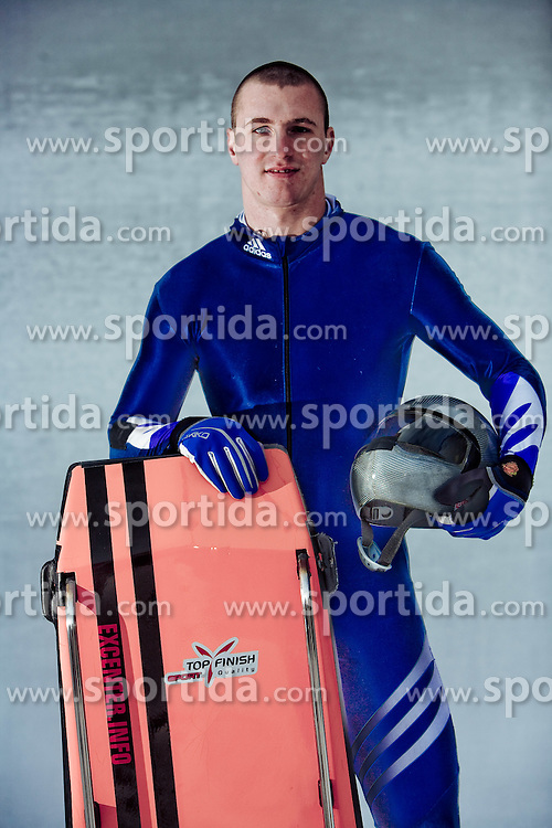 Anze Setina of Slovenia poses during a photo session near Koenigssee, on January 6, 2010 in Koenigssee, Germany where he is preparing for the World Cup competition.  Setina is the first Slovenian Skeleton, who qualified for Winter Olympics. He has been training skeleton just for 3 years and will compete at Olympic games in Vancouver 2010.  (Photo by Vid Ponikvar / Sportida)
