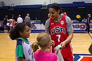 Maya Moore having fun with some fans after the 2012 USA Women's Basketball team practice at Bender Arena  in Washington, DC.  July 15, 2012  (Photo by Mark W. Sutton)