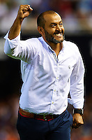 VALENCIA, SPAIN - AUGUST 29:  Valencia manager Nuno Espirito Santo celebrates the second goal during the La Liga match between Valencia CF and Malaga CF at Estadi de Mestalla on August 29, 2014 in Valencia, Spain.  (Photo by Manuel Queimadelos Alonso/Getty Images)