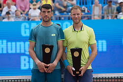 BUDAPEST, April 30, 2018  Dominic Inglot (R) of Britain and Franko Skugor of Croatia attend the awarding ceremony after winning the men's doubles final at the Hungarian Open ATP tournament in Budapest, Hungary on April 29, 2018. Inglot and Skugor won 2-1 and claimed the title. (Credit Image: © Attila  Volgyi/Xinhua via ZUMA Wire)