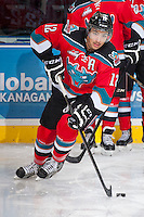 KELOWNA, CANADA - NOVEMBER 30: Tyrell Goulbourne #12 of the Kelowna Rockets warms up against the Kamloops Blazers on November 30, 2013 at Prospera Place in Kelowna, British Columbia, Canada.   (Photo by Marissa Baecker/Shoot the Breeze)  ***  Local Caption  ***