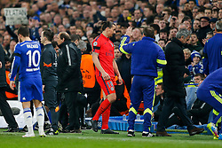 Zlatan Ibrahimovic of Paris Saint-Germain leaves the pitch after he is shown a red card by referee Bjorn Kuipers - Photo mandatory by-line: Rogan Thomson/JMP - 07966 386802 - 11/03/2015 - SPORT - FOOTBALL - London, England - Stamford Bridge - Chelsea v Paris Saint-Germain - UEFA Champions League Round of 16 Second Leg.