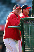 ANAHEIM, CA - APRIL 22:  Manager Mike Scioscia #14 of the Los Angeles Angels of Anaheim watches batting practice before the game against the Detroit Tigers at Angel Stadium on Wednesday, April 22, 2009 in Anaheim, California.  The Tigers defeated the Angels 12-10.  (Photo by Paul Spinelli/MLB Photos via Getty Images) *** Local Caption *** Mike Scioscia