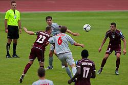 Pokorn Jalen of NK Triglav vs Pecovnik Nejc of Aluminij during football match between NK Triglav Kranj and Aluminij 2nd Round of Prva Liga, on 22 July, 2012, in Sportni center, Kranj, Slovenia. (Photo by Grega Valancic / Sportida)
