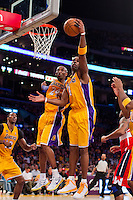 22 March 2013: Forward (4) Antawn Jamison of the Los Angeles Lakers grabs a rebound against the Washington Wizards during the second half of the Wizards 103-100 victory over the Lakers at the STAPLES Center in Los Angeles, CA.