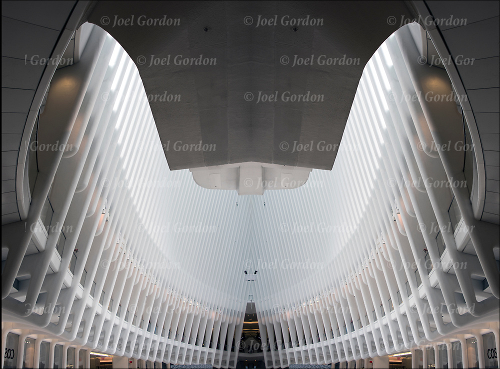 Photographic series of digital computer art from an image of interior of the Oculus white canopy sculpture.