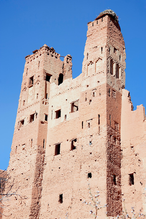 Kasbah Tamdaght against blue sky.