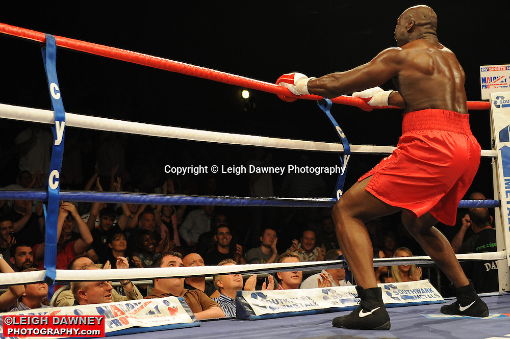 Larry Olubamiwo defeats Dave Ferguson at the Brentwood Centre on 25th June 2010.Frank Maloney Promotions. Photo credit: © Leigh Dawney