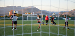 PODGORICA, MONTENEGRO - Thursday, September 2, 2010: Wales' Ched Evans takes a shot during a training session at the Montenegro FA Technical Centre ahead of the UEFA Euro 2012 Qualifying Group 4 match against Montenegro. (Pic by David Rawcliffe/Propaganda)