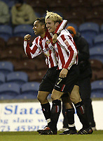 Photo Aidan Ellis.<br /> Burnley v Sunderland.<br /> Coca-Cola Championship.<br /> Turf Moor, Burnley.<br /> 04/03/2005.<br /> Sunderland goal scorer Liam Lawrence celebrates his goal with Jeff Whitley after the first goal