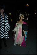 CORINNE DREWERY; FANCY CHANCE, Andrew Logan's Alternative Miss World 2014. Shakespeare's Globe, London. 18 October 2014.