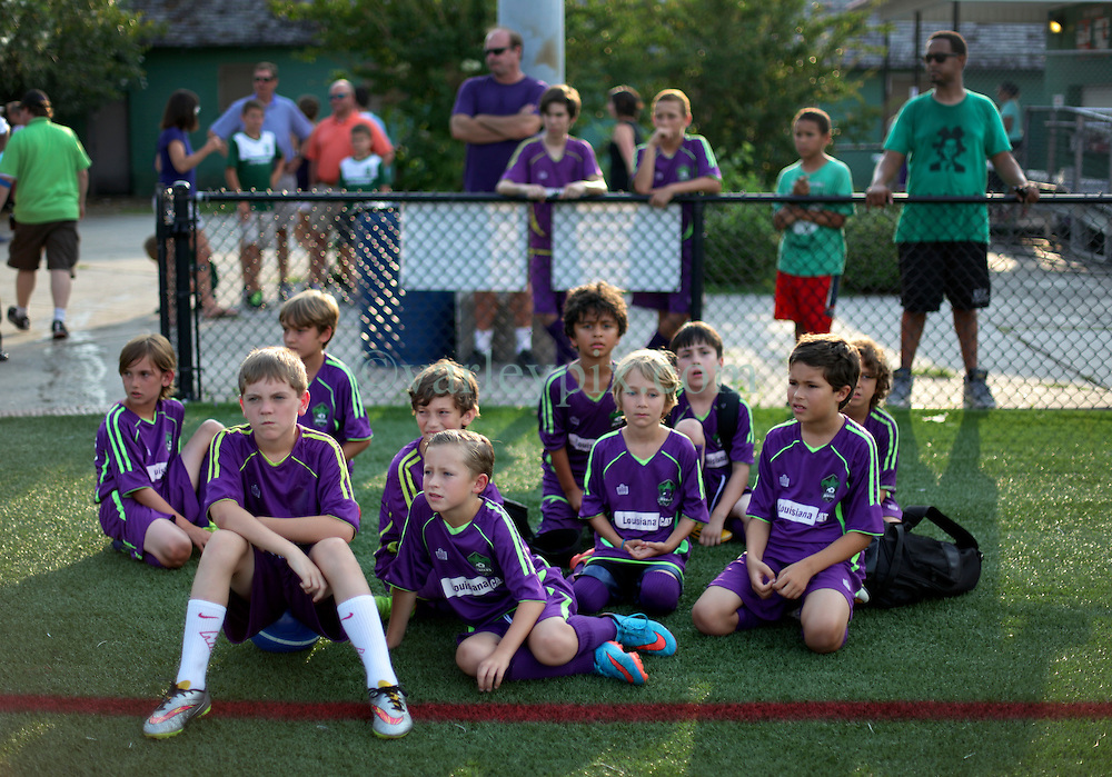 06 June 2015. New Orleans, Louisiana.<br /> National Premier Soccer League. NPSL. <br /> Jesters academy players preparing for ball boy duty before the New Orleans Jesters take on Chattanooga FC in a Conference game at home in the Pan American Stadium. Chattanooga take a 4-0 victory over the Jesters.<br /> Photo; Charlie Varley/varleypix.com