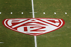 Oct 8, 2011; Stanford CA, USA;  General view of the PAC-12 logo on the field before the game between the Stanford Cardinal and the Colorado Buffaloes at Stanford Stadium.  Stanford defeated Colorado 48-7. Mandatory Credit: Jason O. Watson-US PRESSWIRE