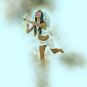 Digitally enhanced image of Cupid (Greek Eros) the god of desire, affection and erotic love In Roman mythology, in the current culture the personification of love and courtship. On white Background