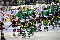 Players of Olimpija congratulate Jesenice after the ice hockey match ZM Olimpija  vs Acroni Jesencie in fourth round of the final of Slovenian National Championship,  on April 9, 2008 in Arena Tivoli, Ljubljana, Slovenia. Acroni Jesenice won the game 2:1 and won the series 4:0. Acroni Jesenice became Slovenian Championship Winner. (Photo by Vid Ponikvar / Sportal Images)
