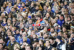 20.02.2015, Curt-Frenzel-Stadion, Augsburg, GER, DEL, Augsburger Panther vs EHC Red Bull München, 49. Runde, im Bild Fanblock EHC Red Bull Muenchen mit Anti AEV // during Germans DEL Icehockey League 49th round match between Adler Mannheim and Grizzly Adams Wolfsburg at the Curt-Frenzel-Stadion in Augsburg, Germany on 2015/02/20. EXPA Pictures © 2015, PhotoCredit: EXPA/ Eibner-Pressefoto/ Kolbert<br /> <br /> *****ATTENTION - OUT of GER*****