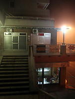 """Belgrade 20/11/2009<br /> The mysterious clinic where Dr Maria Kovacevic is believed to have practiced """"miracle healing massage"""" using horse placenta on Robin van Persie  was found locked by Serbian Health Ministry last night. Other players incuding Glen Johnson, Fabio Aurelio and Fernando Torres are believed to have sought treatment from Dr Kovacevic, who may have gone into hiding. The Doctor and her patients were seen to have drinks in the cafe below during their treatment session.<br /> Photo Aleksandr Djorovic Fotosports International"""