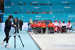 Aileen Neilson, Bob McPherson, Gregor Ewan, Jim Gault, Alexander Shevchenko, Marat Romanov, Andrey Smirnov, Svetlana Pakhomova, Wheelchair Curling Semi Finals at the 2014 Sochi Winter Paralympic Games, Russia