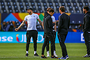 England defender Kyle Walker (Manchester City) looks relaxed during the England walk around the pitch ahead of the Nations League Semi-Final against Holland at Estadio D. Afonso Henriques, Guimaraes, Portugal on 5 June 2019.