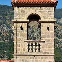 St. Francis Monastery Tower in Kotor, Montenegro <br /> During the early 13th century, Saint Francis of Assisi established the Order of Friars Minor, better known as Franciscans. Shortly after his death in 1226, the friars began to establish missionaries across Albania. The first one in Kotor started in 1283. Five years later, they built a monastery near the Gurdić or South Gate. It was destroyed in 1667. This empty bell tower stands near the monastery ruins.