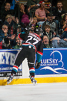 KELOWNA, CANADA - OCTOBER 21: Calvin Thurkauf #27 of the Kelowna Rockets celebrates a goal with fans against the Tri-City Americans on October 21, 2016 at Prospera Place in Kelowna, British Columbia, Canada.  (Photo by Marissa Baecker/Shoot the Breeze)  *** Local Caption ***