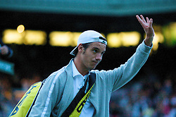 LONDON, ENGLAND - Monday, June 30, 2008: Richard Gasquet (FRA) walks off court during his marathon men's singles fourth round defeat on day seven of the Wimbledon Lawn Tennis Championships at the All England Lawn Tennis and Croquet Club. (Photo by David Rawcliffe/Propaganda)