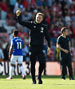 AFC Bournemouth manager Eddie Howe celebrates the 3-1 win over Everton at full time during the Premier League match between Bournemouth and Everton at the Vitality Stadium, Bournemouth, England on 15 September 2019.