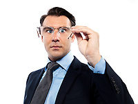 man businessman nearsighted squinting holding glasses isolated studio on white background
