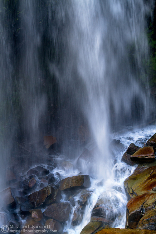 Base of Narada Falls during late Summer in Mount Rainier National Park, Washington State, USA