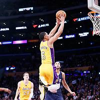 05 December 2016: Los Angeles Lakers guard Jordan Clarkson (6) goes for the dunk past Utah Jazz center Rudy Gobert (27) and Utah Jazz guard Rodney Hood (5) during the Utah Jazz 107-101 victory over the Los Angeles Lakers, at the Staples Center, Los Angeles, California, USA.