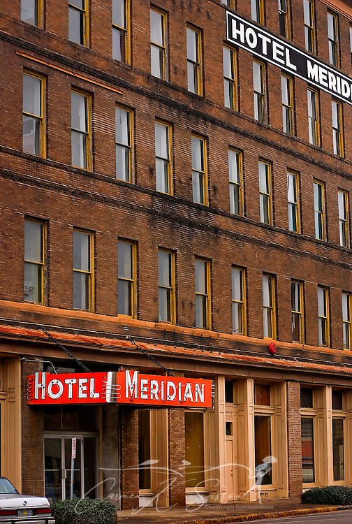 "The Hotel Meridian, no longer in operation, is pictured in downtown Meridian, Miss. on Jan. 9, 2011. The hotel is one of several that played a vital role in the city's early history as ""a child of the railroad.""  (Photo by Carmen K. Sisson/Cloudybright)"