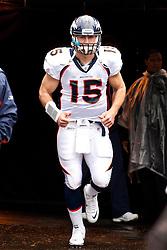December 19, 2010; Oakland, CA, USA;  Denver Broncos quarterback Tim Tebow (15) enters the field before the game against the Oakland Raiders at Oakland-Alameda County Coliseum.