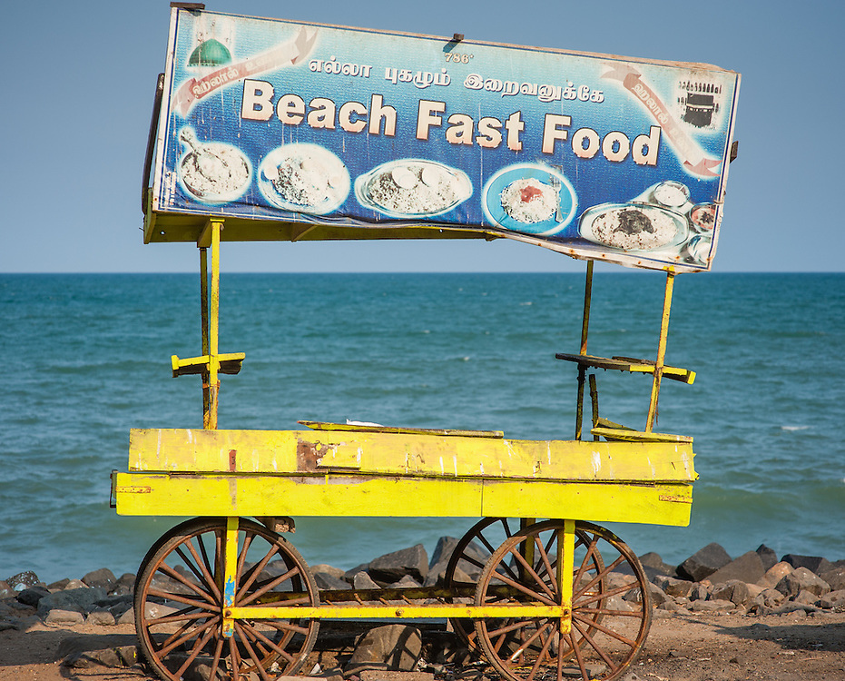Empty food stall by the sea at Puducherry (India)
