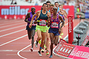 Mo Farah leads the pack in the 3000m Men during the Muller Anniversary Games at the London Stadium, London, England on 9 July 2017. Photo by Jon Bromley.