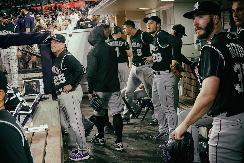 San Diego, CA - JUNE 04:   Nolan Arenado watches a ball hit with teammates during the first inning during game against the Padres at Petco Park during game with the San Diego Padres San Diego, California.  (Sandy Huffaker for ESPN)