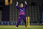 Kirstie Gordon of Loughborough Lightning celebrates the run out of Maia Bouchier during the Women's Cricket Super League match between Southern Vipers and Loughborough Lightning at the Ageas Bowl, Southampton, United Kingdom on 28 August 2019.