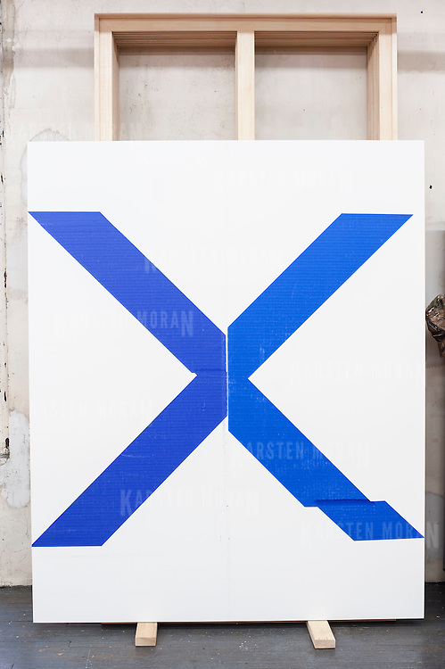 """August 9, 2012 - New York, NY :  A retrospective of Wade Guyton's work is scheduled to go on exhibit at the Whitney Museum in October. Pictured here in Guyton's studio: """"Wade Guyton_.Untitled, 2008.Epson UltraChrome inkjet on linen.84 x 69 inches.213.4 x 175.3 cm"""" CREDIT : Karsten Moran for The New York Times"""